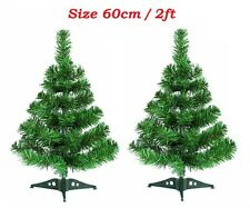 2x 60cm Table Top Green Artificial Christmas Tree with Stand Window Trees Indoor