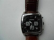 FOSSIL CHRONOGRAPH MAN'S BROWN LEATHER BAND WATCH.QUARTZ,BATTERY.FS-4021
