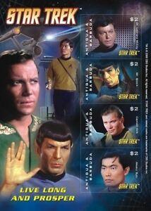 Antigua - 2008 Star Trek Live Long & Prosper - Sheet of 4 stamps - MNH