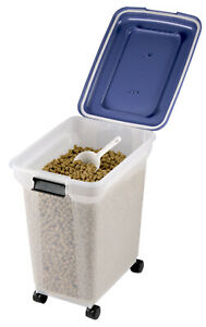 15 kg Load Airtight Plastic Storage Catering Bin Container Pet Food on Wheels
