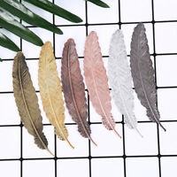 antique leaves feather shaped metal bookmark for books office school gift DD