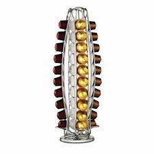 40 pod Coffee Capsule Holder For Nespresso Rotating Pod Tower Rack Sleek Chrome@