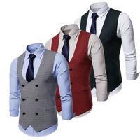 Men Vest Plaid Waistcoat Formal Tuxedo Vintage Suit Office Evening Party Coat