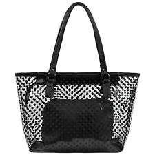 Cute Neno Candy Color Polka Dot Clear Beach Tote Shoulder Handbag (Black)