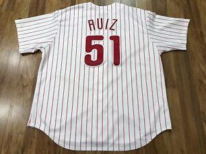 MENS 2XL - Vtg Philadelphia Phillies #51 Carlos Ruiz Majestic Sewn On Jersey