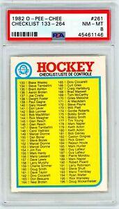 1982 OPC O-Pee-Chee Hockey Checklist #133 - #264 #261 PSA 8 P926