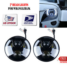"7"" LED HEADLIGHT FOR JEEP JK/TJ/LJ/CJ 80W CREE ANGEL EYE DRL PROJECTOR Day Maker"