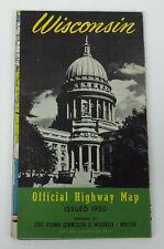 vintage WISCONSIN HIGHWAY MAP 1950