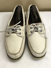 Sperry Top Sider Zapatos Nauticus Defender Cream 2 Eye Boat Shoes Men's SZ 8.5 M