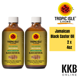 100% Pure Natural Hair Skin Jamaican Black Castor Oil 4oz/118ml - Glass Bottle