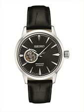 New Seiko Presage Automatic Sunray Dial Black Leather Strap Mens Watch SSA359