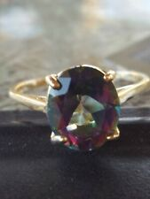 Mystic Topaz Oval Cut Ring 10kt Solid Yellow Gold