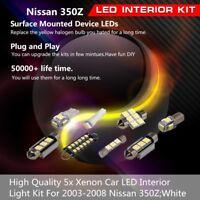 5x White LED Interior Light Bulbs Package Kit For 2003-2008 Nissan 350Z 350 Z