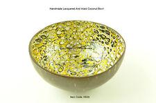 Handmade Decorative Coconut Bowl, laqué & Incrusté en coquille d'œuf, or, H028