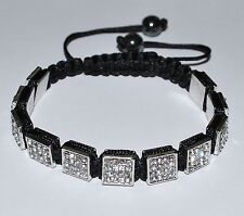 Silver Square Crystal Beads Adjustable Macrame Shamballa Bracelet - SH113