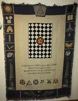 "Brand New `MASONIC SYMBOLS` MASON Tapestry Throw Blanket - Fringed 48"" X 60"""