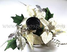 4 x 30cm Cream Velvet 3 Poinsettia Foliage Christmas Centre Piece Candle Holder
