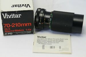 Vivitar 70-210mm f4.5 MC Macro Focusing Zoom Canon FD 1:4x 52mm