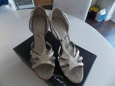 Kenneth Cole Cream Grey Ivory Leather high heel sandals Shoes UK 6