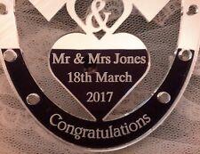 Señor señor Jones Día De Boda Zapato de caballo de regalo con el nombre de la fecha de boda de novia & Novio