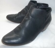 Crown Vintage Womens Ankle Boots US 12 M Black Leather Zip-Up Heels Booties