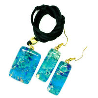 Murano Glass Pendant Drop Earrings Set Blue, Green and Gold from Venice
