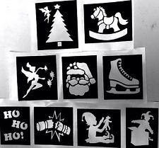ALBERO di Natale Stencil Fata Ice Skate GLITTER TATUAGGI AEROGRAFO facepainting