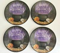 "Cauldron Happy Halloween Melamine Tidbit Candy Appetizer Plates 6"" Set of 4"
