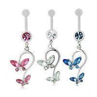 Piercing Nombril, A Chirurgical, Papillons Cristal rose, bleu, bijoux fantaisie