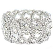 Bridal Formal Pageant Silver Clear Crystal Round Circle Statement Bracelet