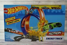 Hot Wheels Action Energy Track Double Power Loops Track Set Comes With 3 Cars