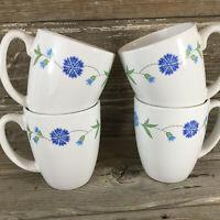 Set Of 4 Corelle Coordinates Stoneware Coffee Mugs Cups Spring Blue Flowers