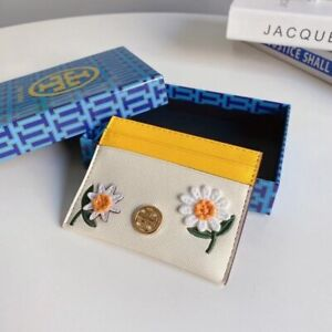 Tory Burch Robinson Embroidered Daisy Yellow White Leather Card Case Holder