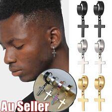 1Pair Unisex Stainless Steel Cross Pendant Multi-Colour Hoop Piercing Earrings