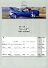Mercedes SLK Preisliste 2001 29.1.01 price list 200 230 Kompressor 320 32 AMG