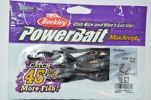 "berkley powerbait maxscent flat worm 3.6"" black drop shot smallmouth lure NEW"