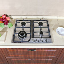 "Metawell 23"" Silver Steel 3300W Built-in Kitchen 4 Burner Stove Gas Hob Cooktop"
