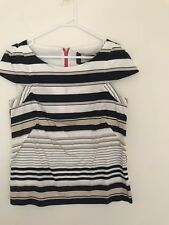 💖 VERONIKA MAINE White Beige Blue Striped Blouse Tshirt Sz 10 S