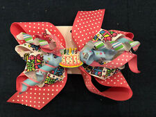 New Huge 6� Custom Handmade Boutique Stacked Hairbow Pink Birthday Cake 1st 2nd+