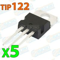 Transistor Darlington TIP122 NPN 100v 5A 65W 1000hFE - Lote 5 unidades - Arduino