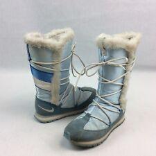 Nike Snow Boots 9 Winter Boots Zip Up Lace Detail Baby Blue Faux Fur Trim