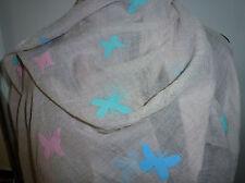 ❤️ XXL Damen Tuch Schal Schmetterling hell braun türkis blau rosa 190 x 70 - NEU