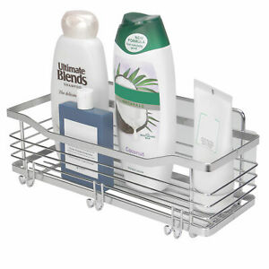Deep Basket Shower Caddy Adhesive Pads Chrome Finish with 3 Hooks M&W