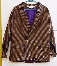 NWT Nina Ricci Haute Couture Women's Size 8 Metallic Gold Striped Button Blazer