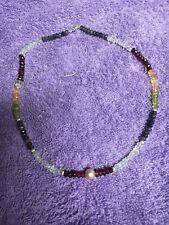 Beautiful Pearl & Multi Gemstone Rondelle Bead Necklace.