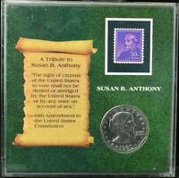 1980-S Susan B Anthony Dollar~Tribute Slab with Stamp & Stand~GEM BU~Combo Ship~