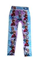 Disney Frozen Leggings Girls Skinny Trousers Summer Elsa Anna Size 2 – 7 YRS
