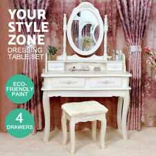 Modern Dressing Table Stool Set Mirror Jewellery Cabinet 4 Drawers Organizer New