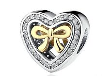 Bound by Love Gold Bow Heart Genuine Silver 925 CZ Pedant Charm +Gift Pouch