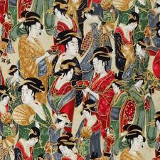 Robert Kaufman IMPERIAL COLLECTION METALLIC Japanese Geisha Girl fabric - Cream